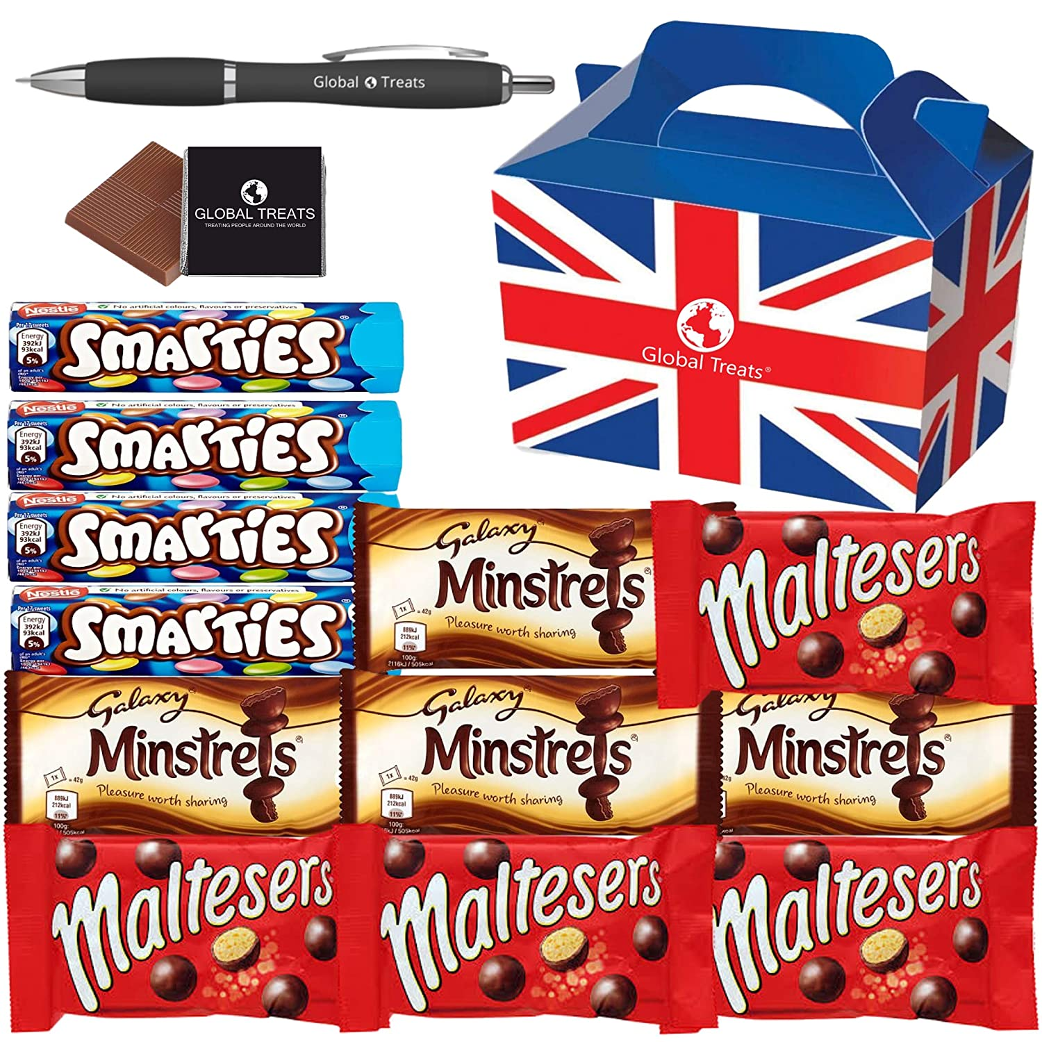 British Chocolate Favourite Selection - Smarties Hexatube x4. Maltesers x4, Galaxy Minstrels x4, - 12 FULL SIZE Chocolate Candy in a unique Gift Box and a free Global Treats Choc & Pen