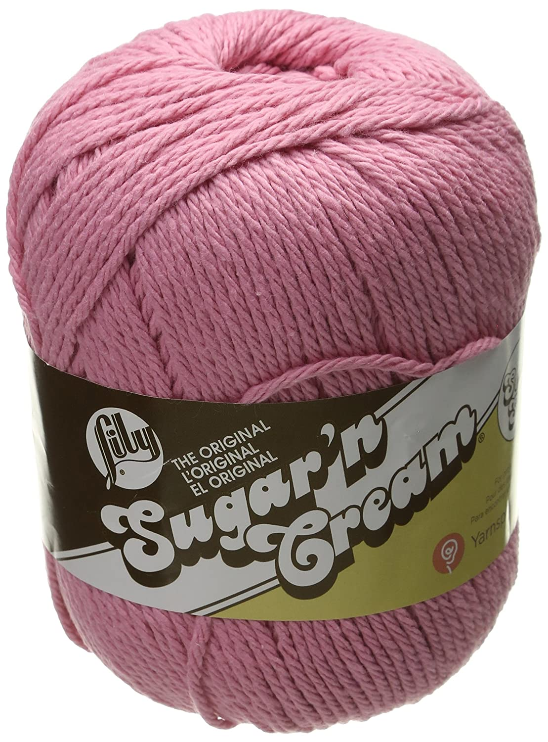 Lily Sugar 'N CreamSuper Size Solid Yarn - (4) Medium Gauge 100% Cotton - 4 oz -Rose Pink-Machine Wash & Dry