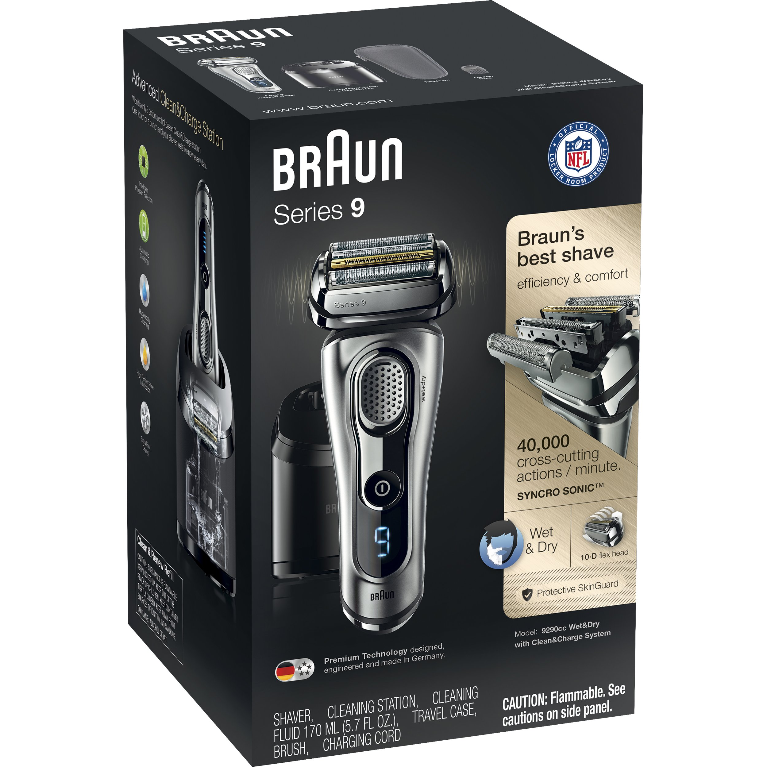 Braun Series 9290CC Men's Electric Foil Shaver / Electric Razor, Wet & Dry, Travel Case with Clean & Charge System by Braun (Image #4)