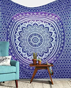 Jaipur Handloom Twin Purple Ombre Tapestry Wall Hanging College Dorm Tapestry Mandala Tapestry Dorm Decor Indian Hippie Tapestry Bohemian Bedspread Bedding Beach Tapestry Decor