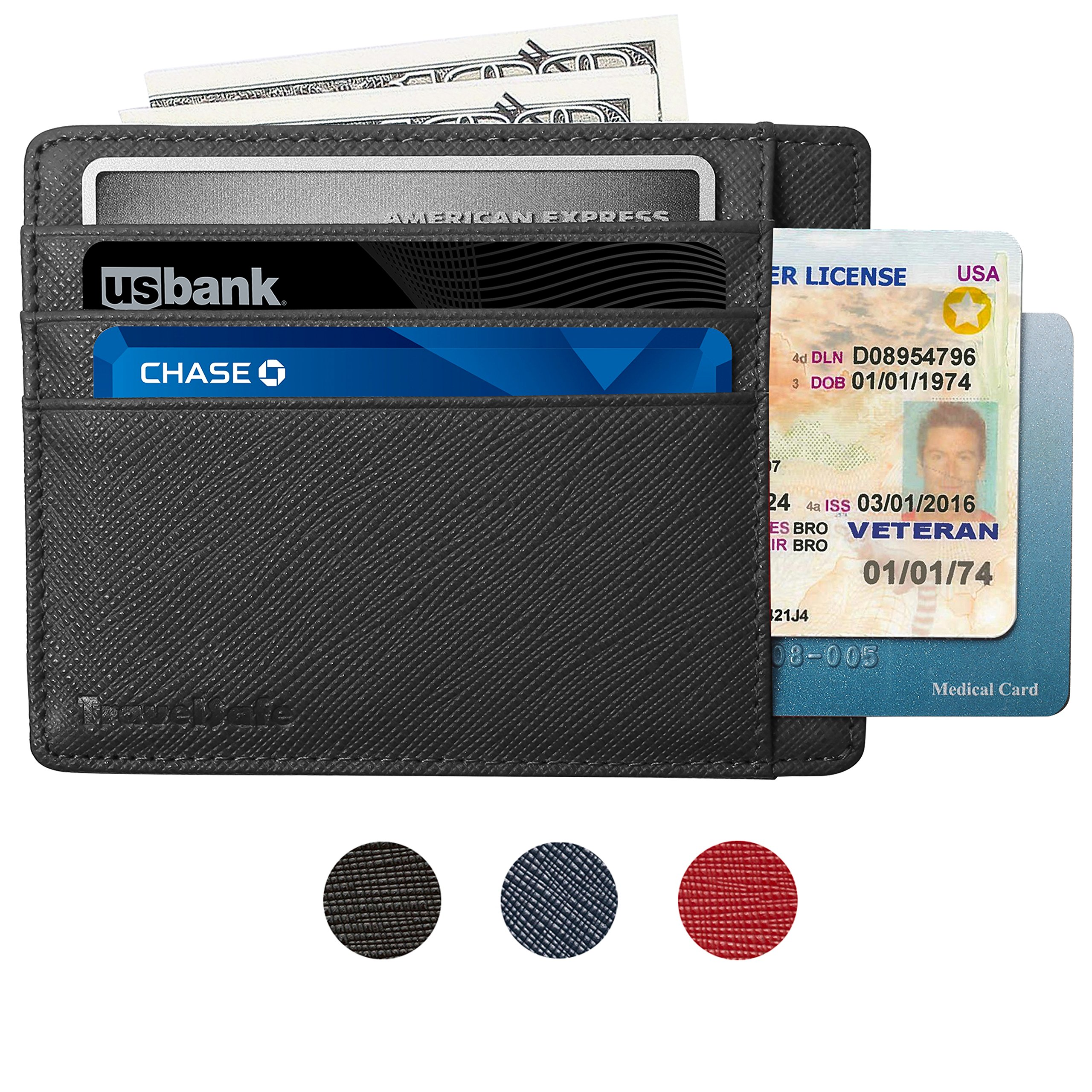 RFID Blocking Credit Card Holder Genuine Leather - Slim & Thin 8 Card Slots RFID Credit Card Holder for Women and Men - Minimalist Front Pocket Wallet Design Protects All Credit, ID Cards (Black) by Travelsafe