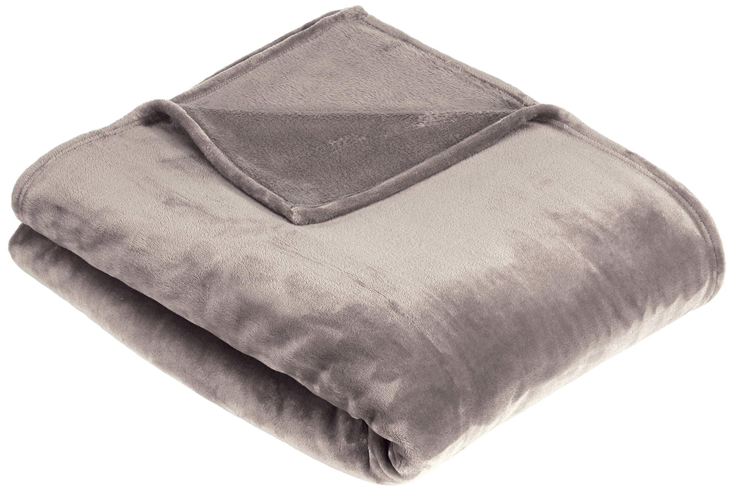 AmazonBasics - Manta suave con tacto de terciopelo, Doble, gris product image