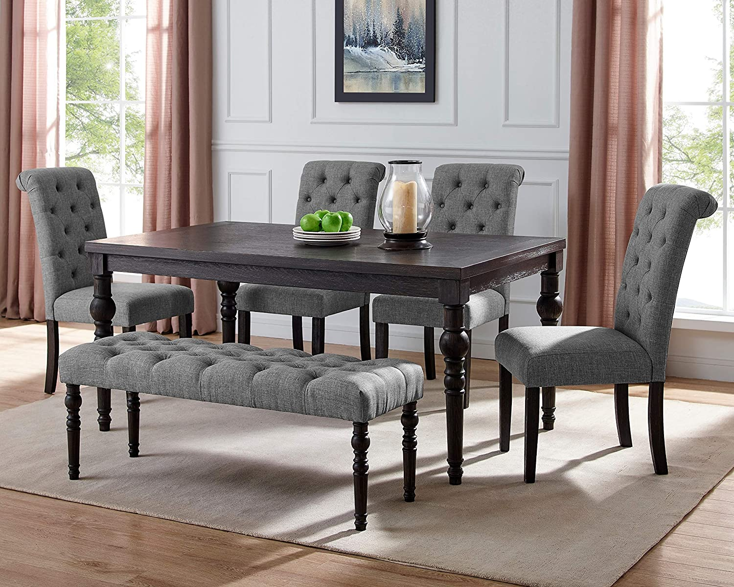 Roundhill Furniture Aneta Urban Style Dark Washed Wood Dining Set: Table, 4 Chairs and Bench, Gray