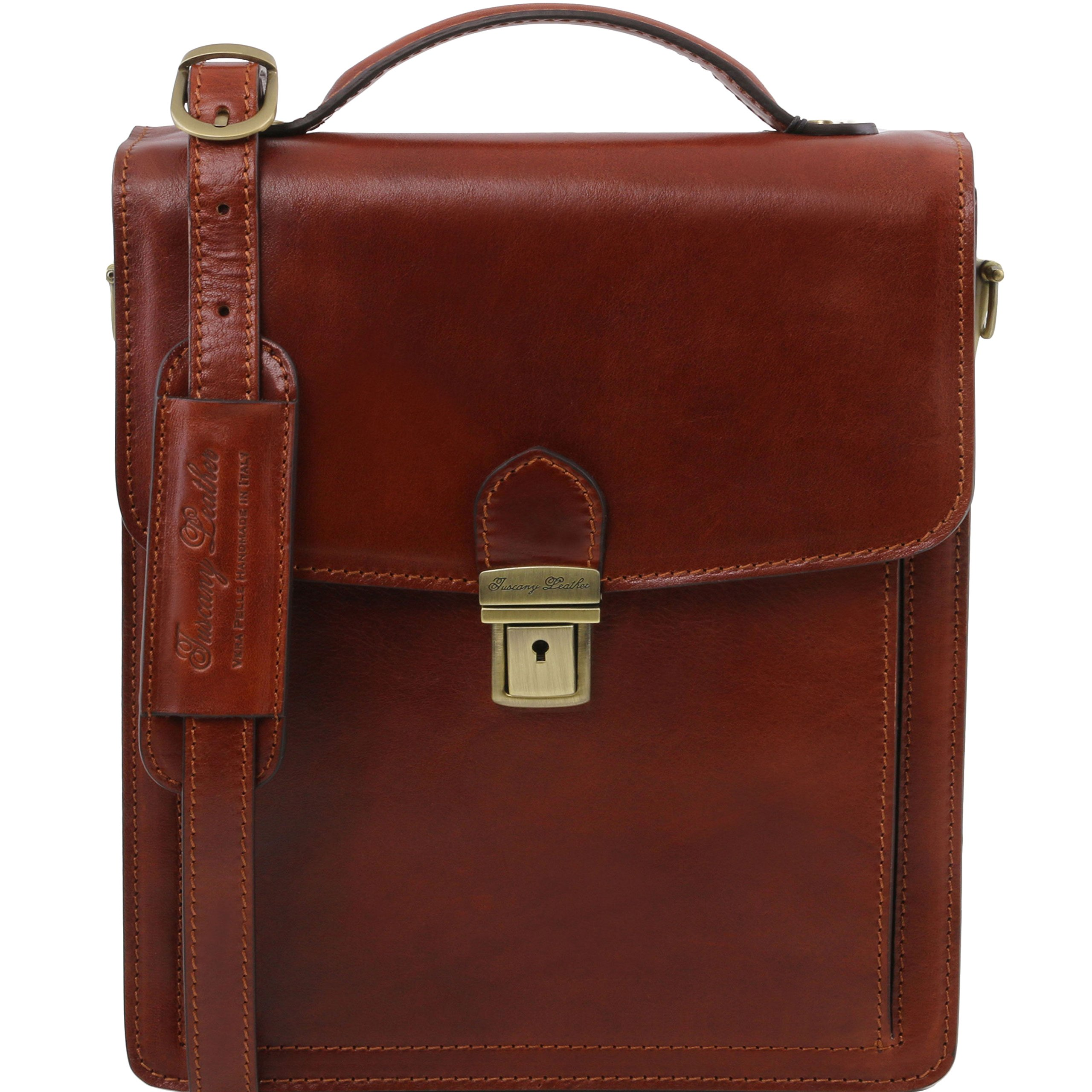 Tuscany Leather David Leather Crossbody Bag - large size Brown