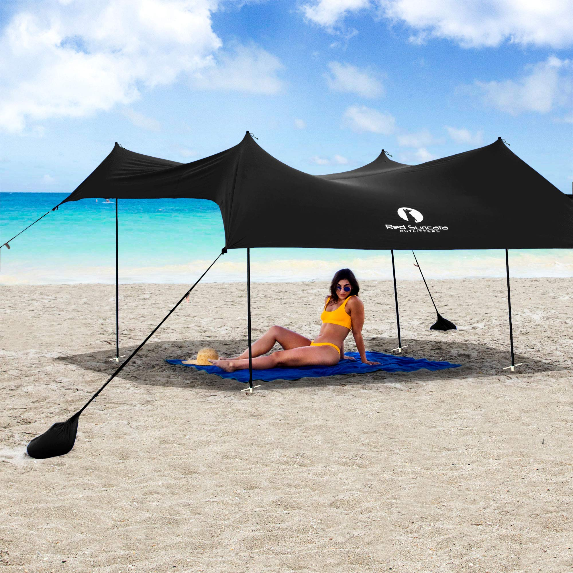 Red Suricata Family Beach Sunshade - Sun Shade Canopy | UPF50 UV Protection | Tent with 4 Aluminum Poles, 4 Pole Anchors, 4 Sandbag Anchors | Large & Portable Shelter Tarp (Black, Large 10' x 9') by Red Suricata