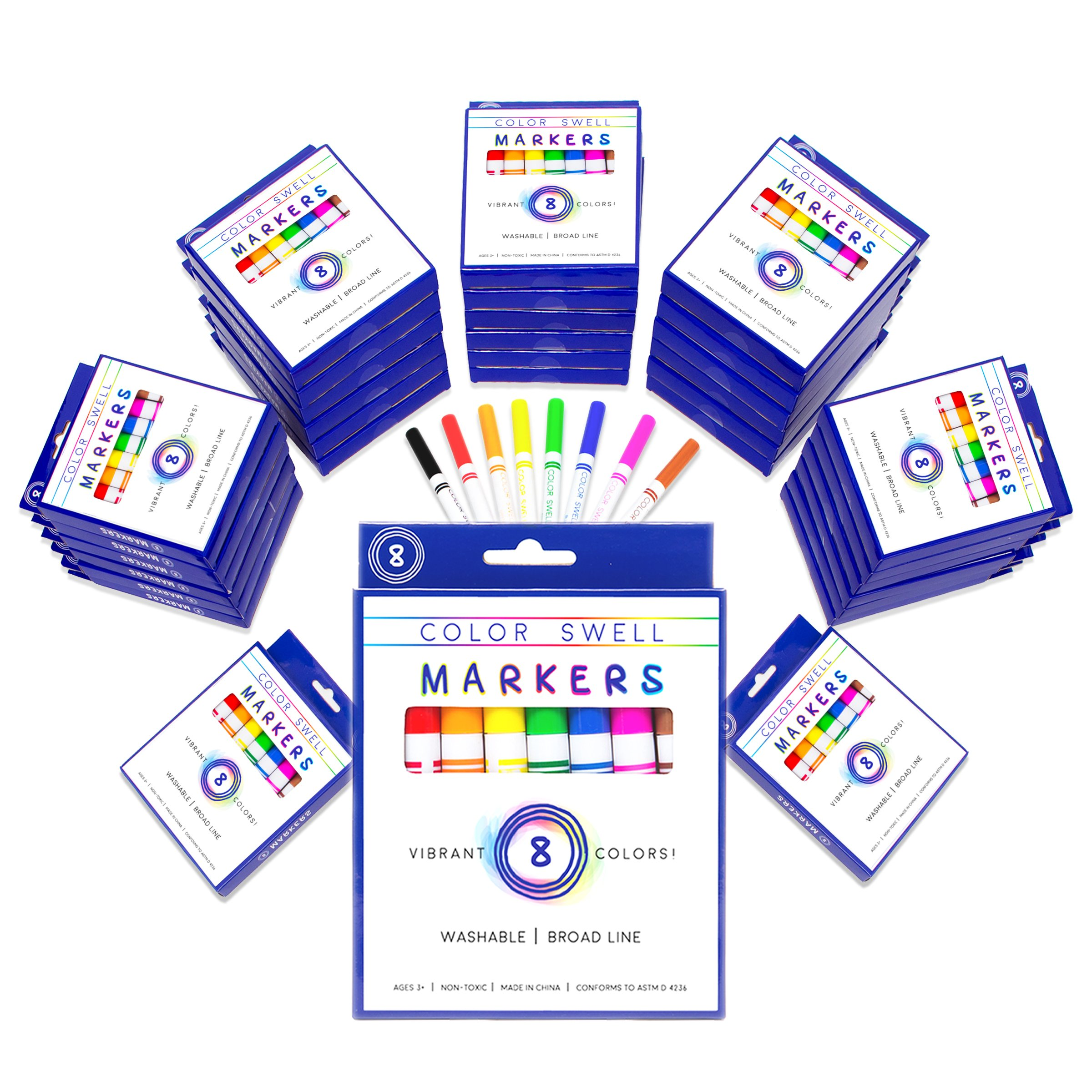 Color Swell Washable Markers Bulk Pack 36 Sets 8 Count Vibrant Colors 288 Total Perfect Large Pack for Teachers, Kids and Classrooms