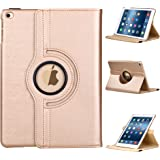 E LV iPad 9.7 (2017) Case Cover Full Body Protection PU LEATHER for iPad 9.7 (2017) with 1 Stylus - (Only compatible with iPad 5 and iPad 9.7 (2017)) - GOLD
