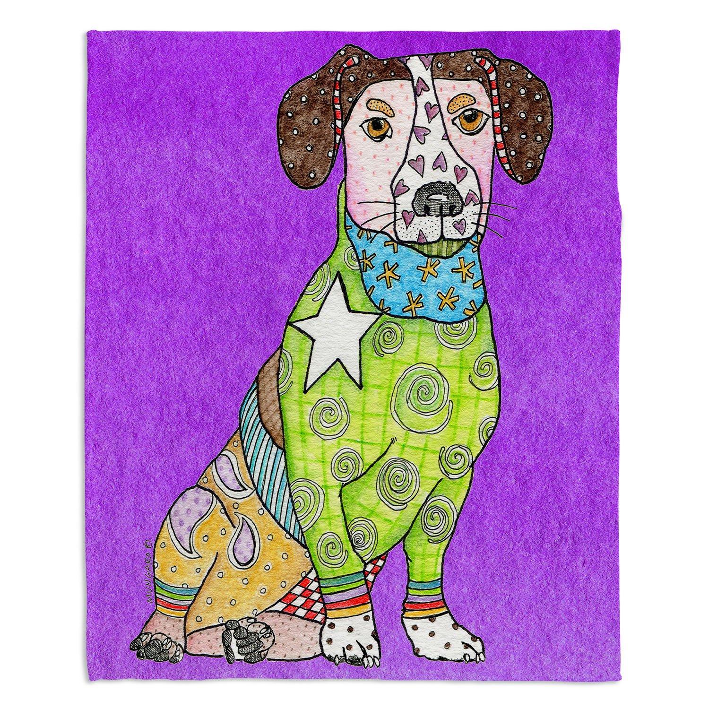 ブランケットウルトラソフトFuzzy 4サイズダイアノウチェデザインズ – Marley Ungaroパープルジャックラッセル犬ホーム装飾寝室ソファスローブランケット Large 80