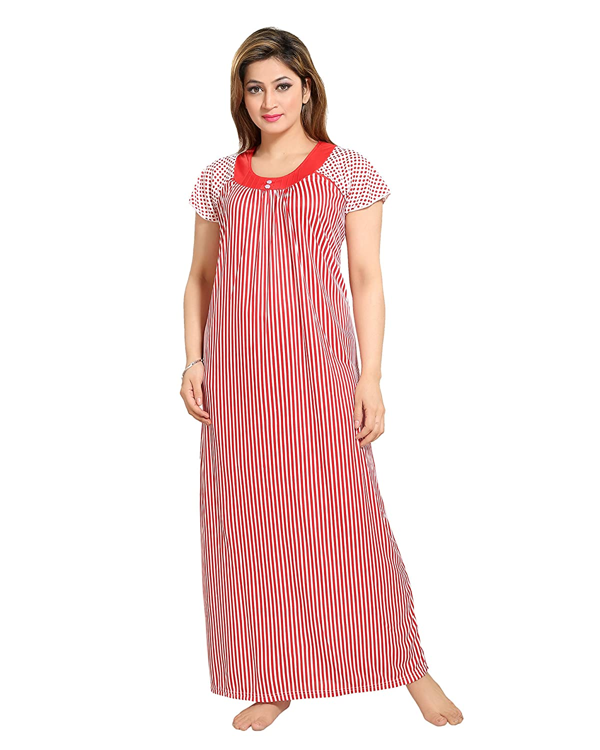 TUCUTE Women Beautiful Line Print Nighty Night Gown Night Dress (Red) (Free  Size) D.No.1280  Amazon.in  Clothing   Accessories 579527241