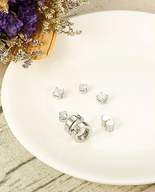 Jstyle 4 Pairs Stainless Steel Stud Earrings For Men Women Magnetic Stud Earrings Non Piercing Cz