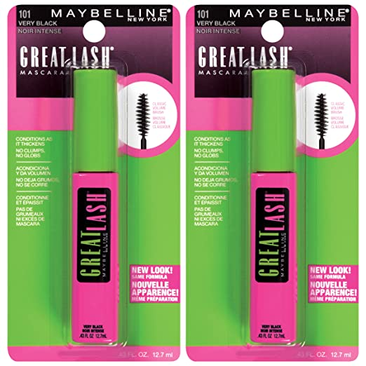449a78166e2 Maybelline New York Great Lash Washable Mascara Makeup, Very Black, 2 Count