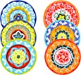 Rose & Tulipani set of 6 salad Plates Mixed Colours Mediterranean Nador style set of 6