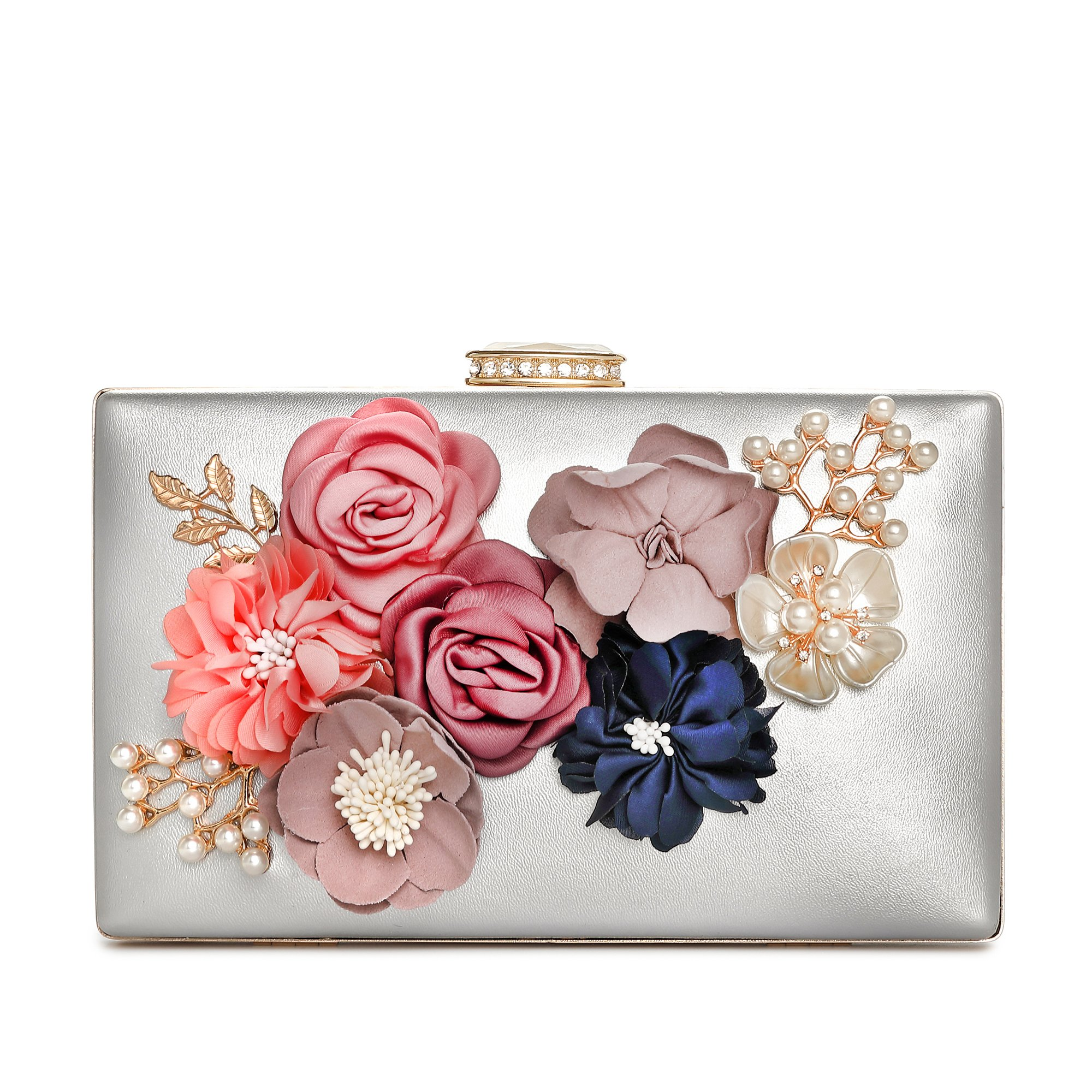 Minicastle Women's Satin Flower Evening Clutch Bags Pearl Beaded Evening Handbag For Prom Bride Wedding Silver