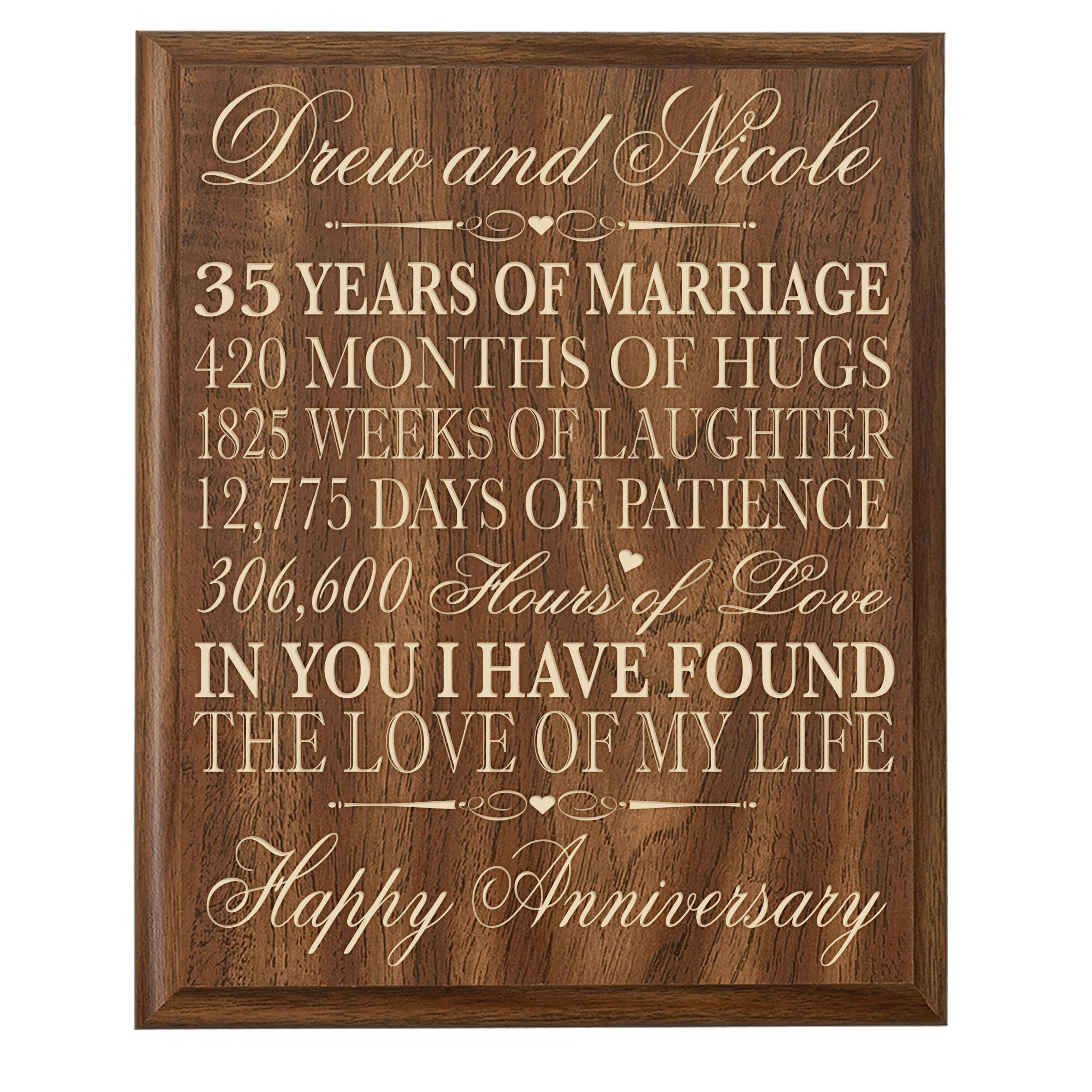 LifeSong Milestones Personalized 35th Wedding for Couple, Custom Made 35th for Her,35th Wedding for Him 12 Inches Wx 16 Inches H (Walnut)