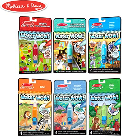 Melissa & Doug On The Go Water Wow! Reusable Color with Water Activity Pad 6-Pack, Sports, Occupations, Adventure, Safari, Under The Sea, Animals, Chunky-Size Water Pens, Multi