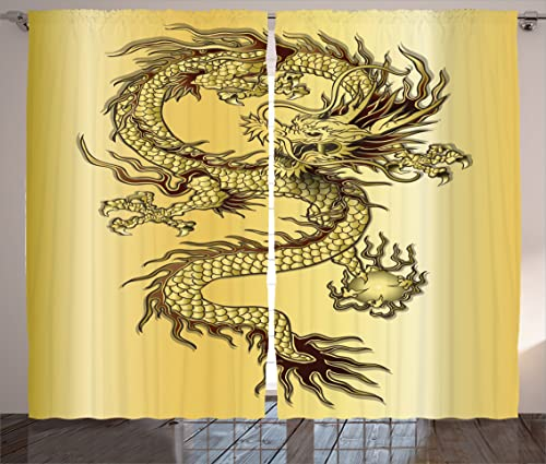 Ambesonne Dragon Curtains, Chinese Snake Dragon Theme Background Eastern Mythology Oriental Abstract Art, Living Room Bedroom Window Drapes 2 Panel Set, 108 X 90 , Mustard Black