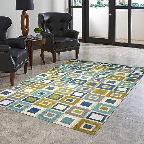 Liora Manne Spello Big Squares Ocean Indoor Outdoor Rug, 8 3 X 11 6 , Blue and Ivory