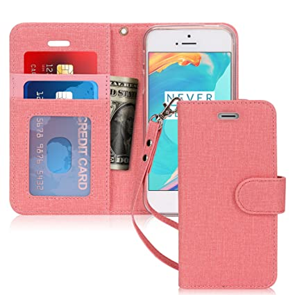 for Apple iPhone SE//5S//5 Rose Gold Card Slots Flip Folio Case Cover with Kickstand Feature Note Pockets FYY Luxury PU Leather Wallet Case for iPhone SE//iPhone 5S//iPhone 5 Case, and