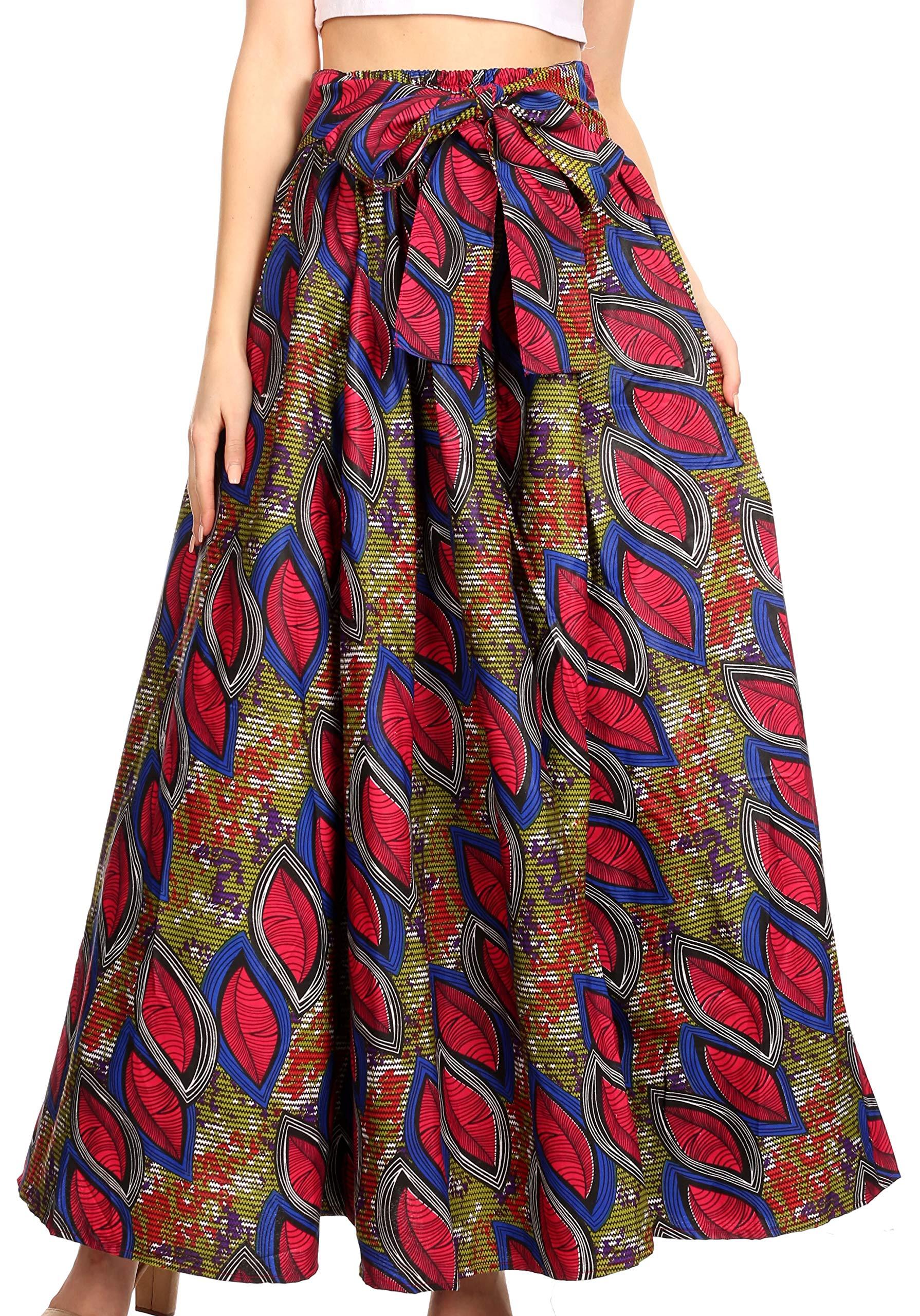 Sakkas 19417 - Ami Women's Maxi Long African Ankara Print Skirt Pockets & Elastic Waist - 121-RoyalCranberryMulti - OS