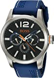 HUGO BOSS Orange Men's Quartz Stainless Steel and Leather Casual Watch, Color:Blue (Model: 1513250)