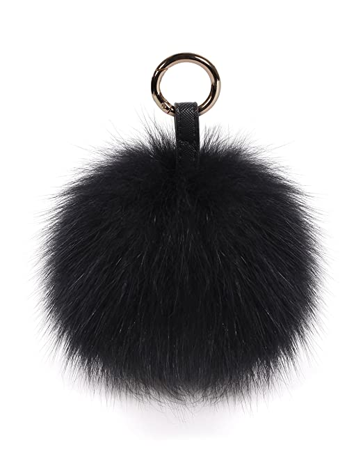S.ROMZA real Fox Fur Pom Pom Keychain Womens Bag Charms soft and Fluffy Fur 1d2637f9e