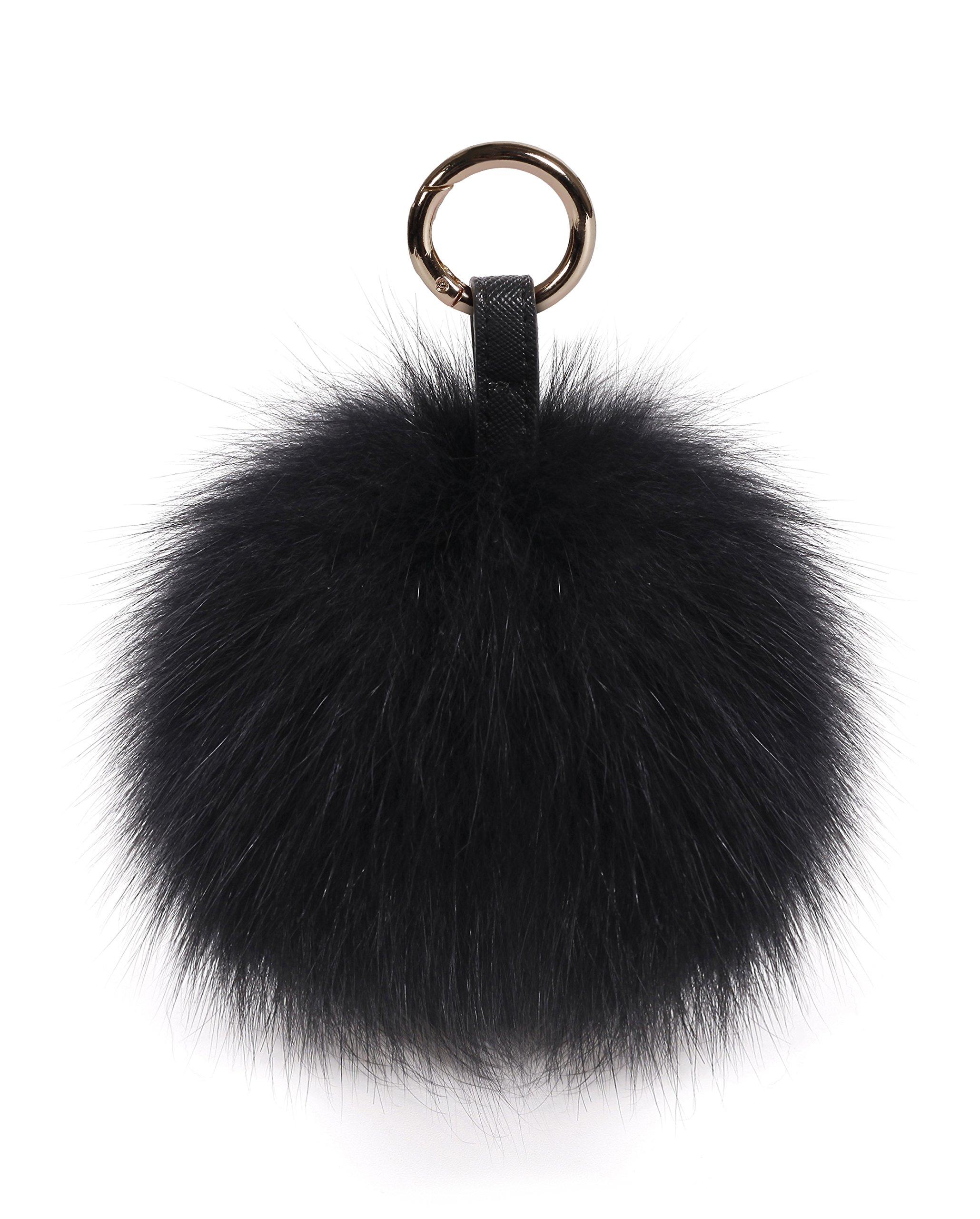 S.ROMZA Pom Pom Keychain Fluffy Real Fox Fur Ball Keychain for Women Bag Purse car key Charms