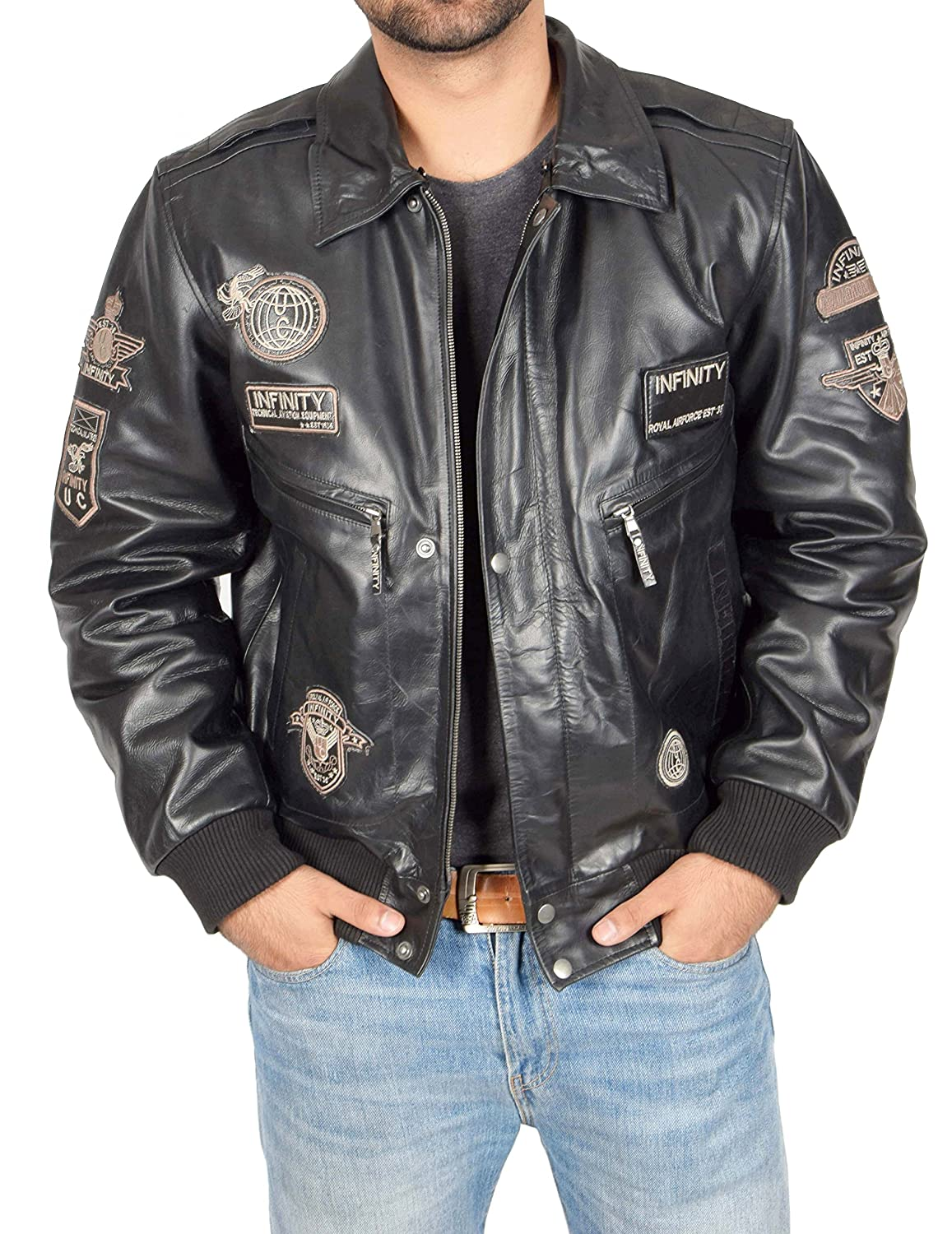 Mens Pilot Leather Jacket BLACK Bomber Aviator With Collar Air Force Badges Luca