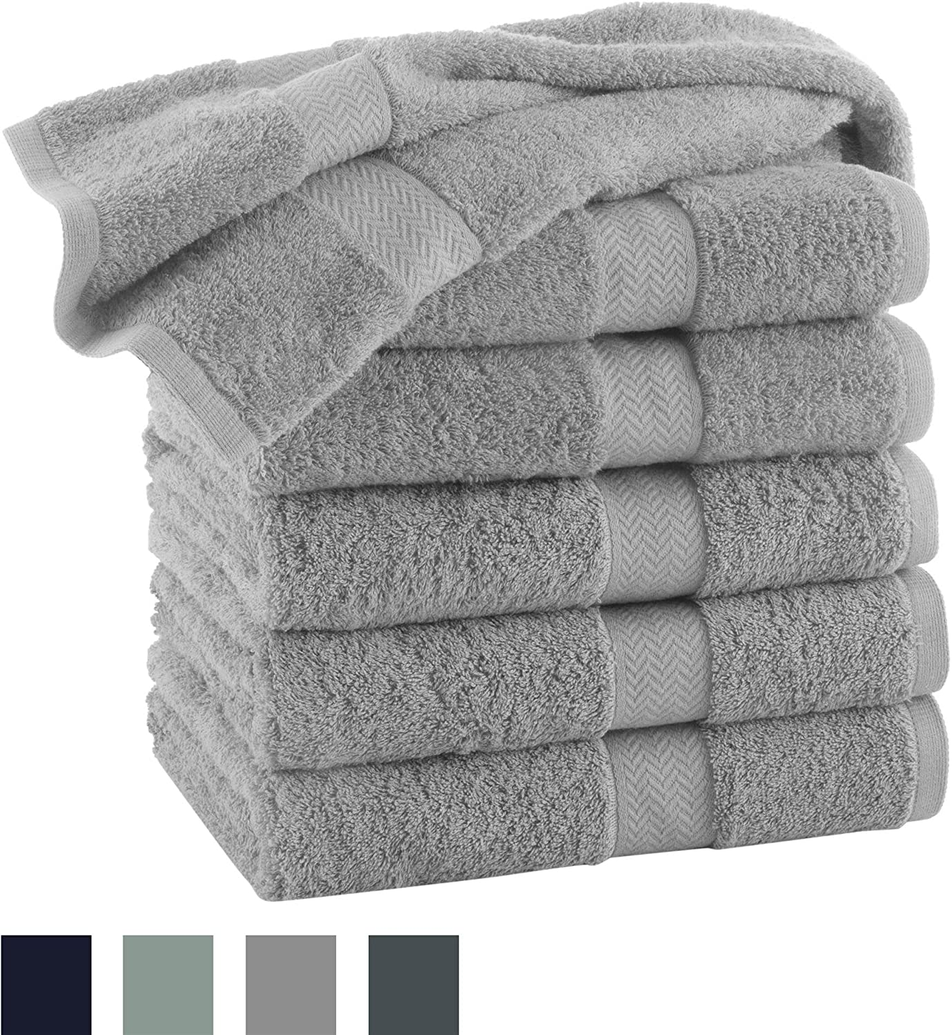 COMMERCIAL 12 PIECE HAND TOWEL SET BY MARTEX -12 Hand Towels, Home, Shower, Tub, Gym, Pool, Golf, Salon - Machine Washable, Absorbent, Professional Grade, Hotel Quality - Gray