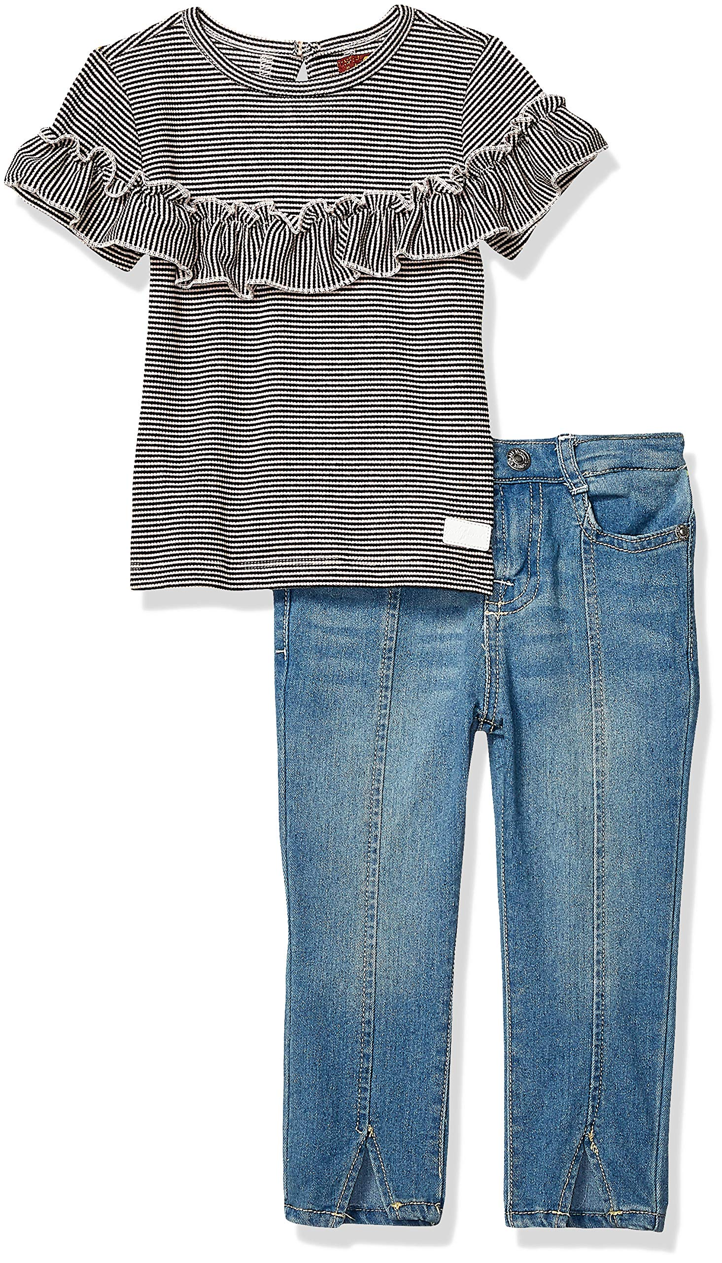 7 For All Mankind Girls' Toddler 2 Piece Fashion Top and Denim Jeans Set