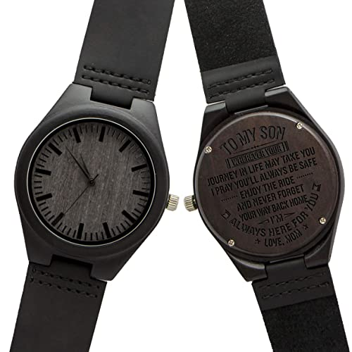 Engraved Custom Men Wood Watch,Analog Quartz Black Leather Handmade Sandalwood Natural Custom Wood Watch