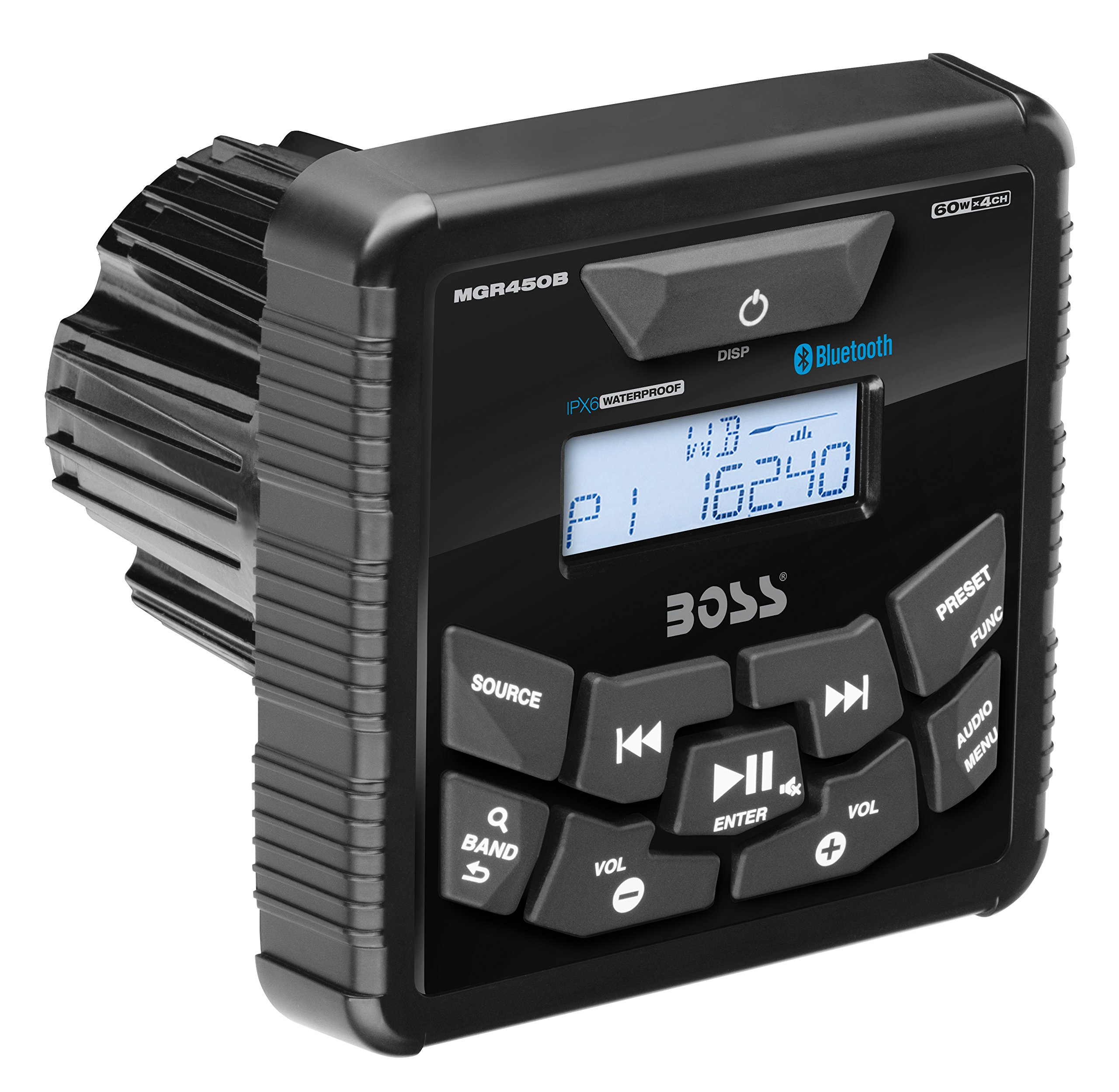 BOSS Audio MGR450B In-Dash, Marine Gauge, Bluetooth, Digital Media  MP3 / WMA / USB / AM/FM Weather-Proof Marine Stereo, (No CD Player), Wired Remote Control Ready (MGR420R Not Included)