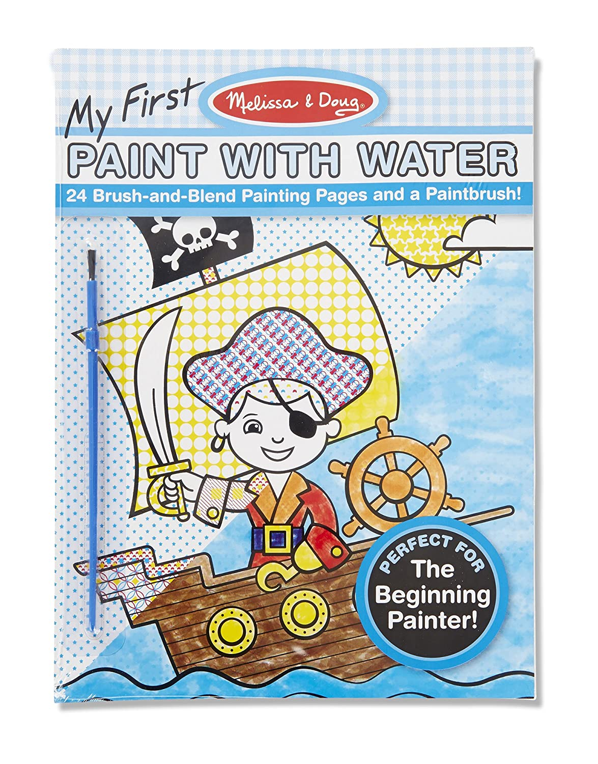 amazoncom melissa doug my first paint with water kids art pad with paintbrush pirates space construction and more melissa doug toys games