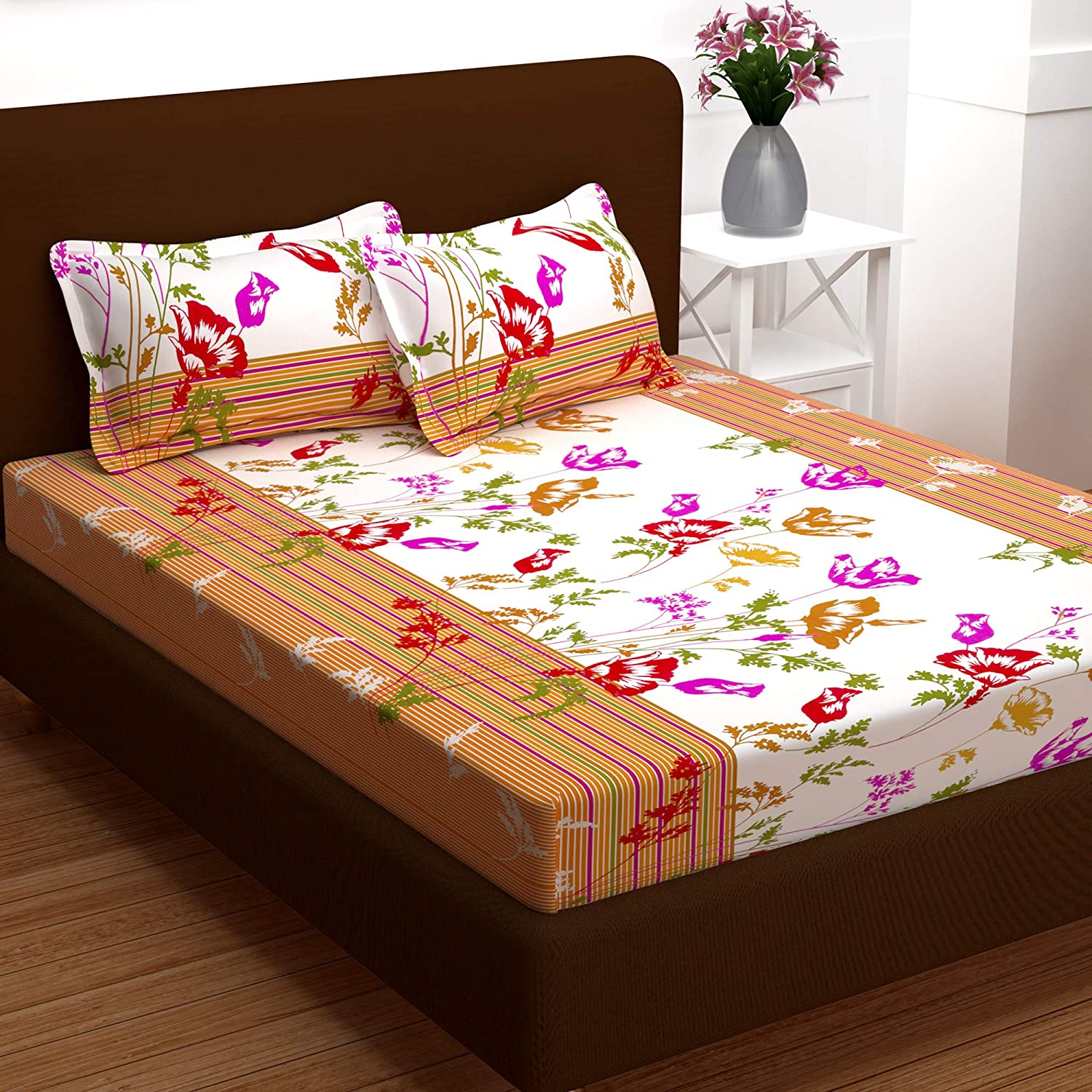 Story@Home Candy Collection 120 TC Cotton Printed 1 Double Bedsheet and 2 Pillow Covers - Floral, Brown कपास डबल बेडशीट