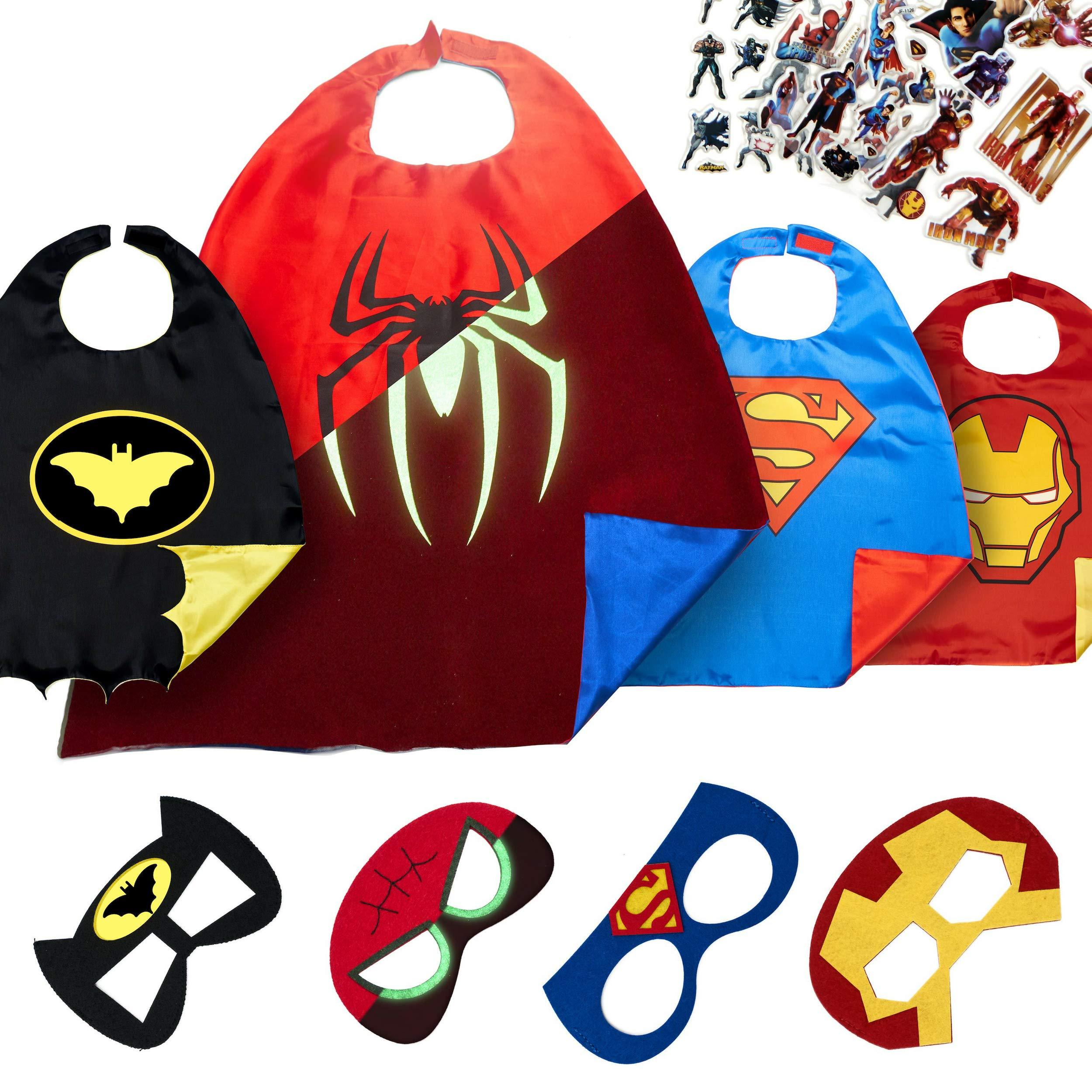 Costumes de Super Héros Enfants - Cadeaux d'anniversaire - 4 Deguisement Capes Masques – Jouets Filles Garçons Logo Spiderman Qui Brille dans Le Noir product image