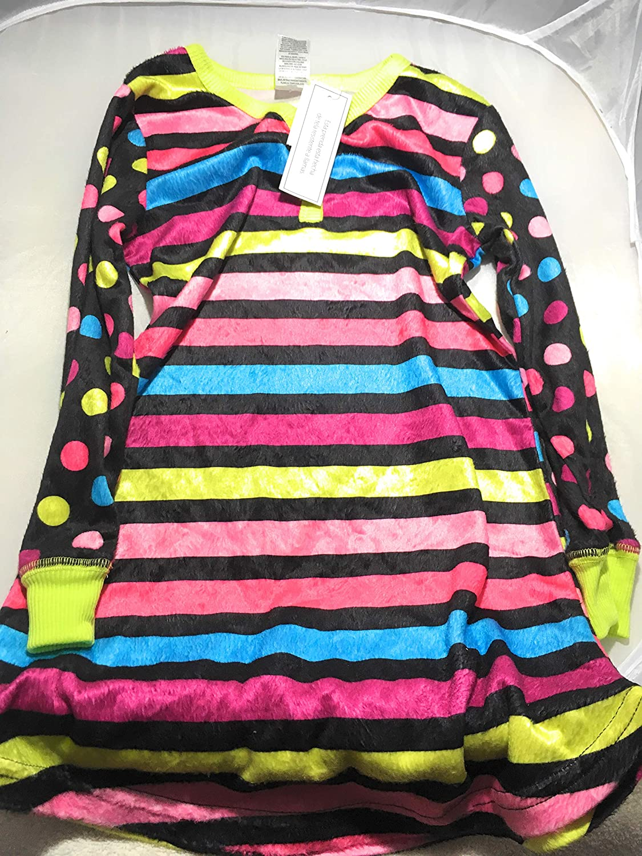 Black Soot Girls Striped and Poka Dotted Sleepwear