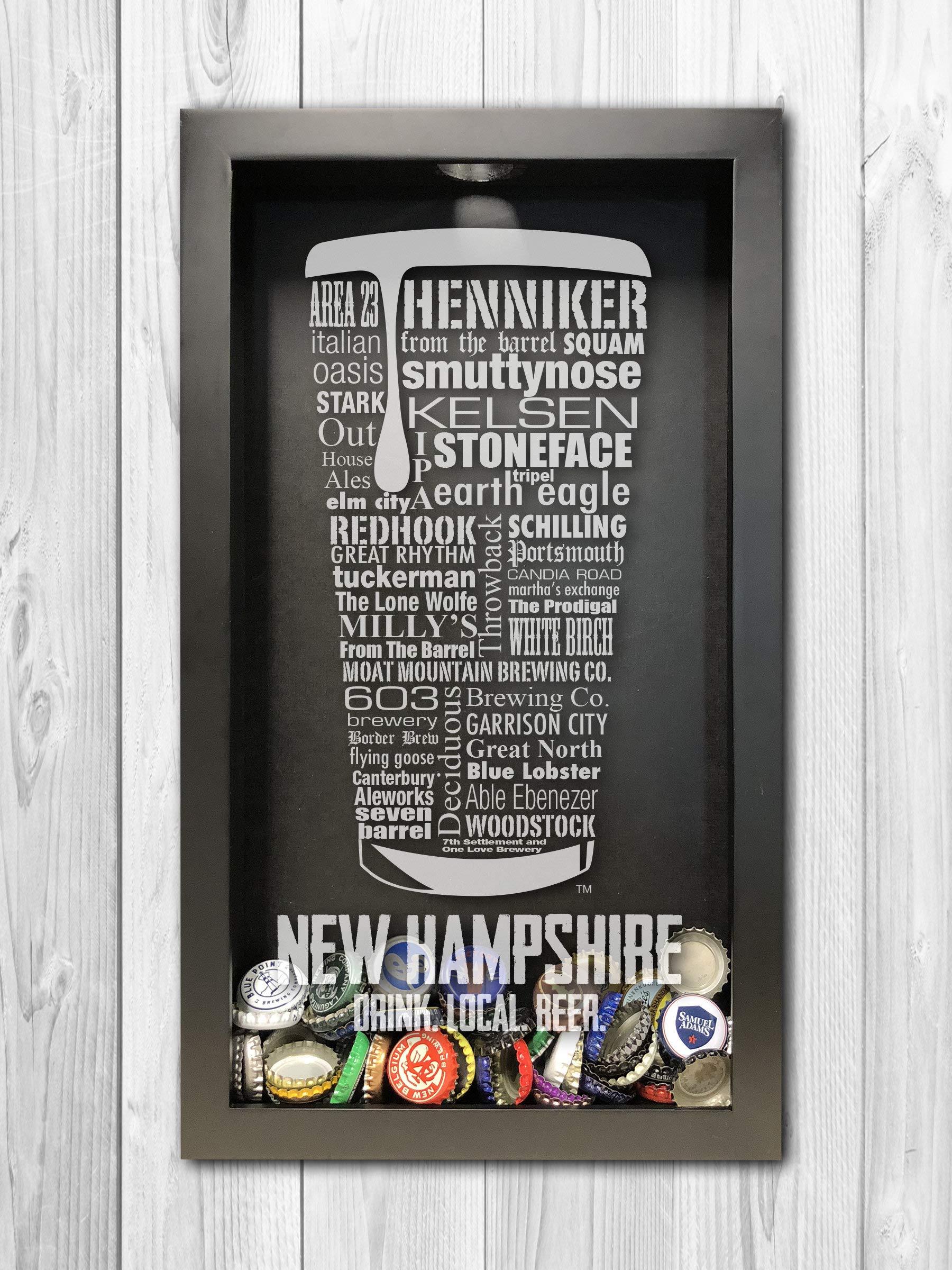 New Hampshire Gift, Beer Cap Holder Shadow Box, Beer Shadow Box