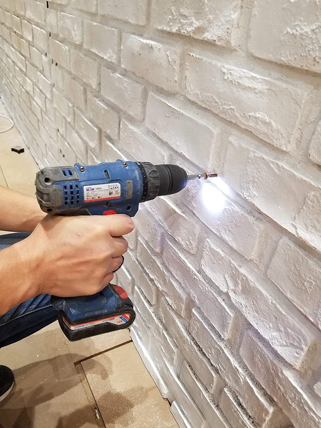 3D Wall Panels Faux Brick Panels DIY for Interior, Exterior Wall Decoration, Faux Brick Tiles with Rustic Design and Brick Design Pack of 4 Tiles Cover 36 sq. ft (FRP) (New London, White Matt)