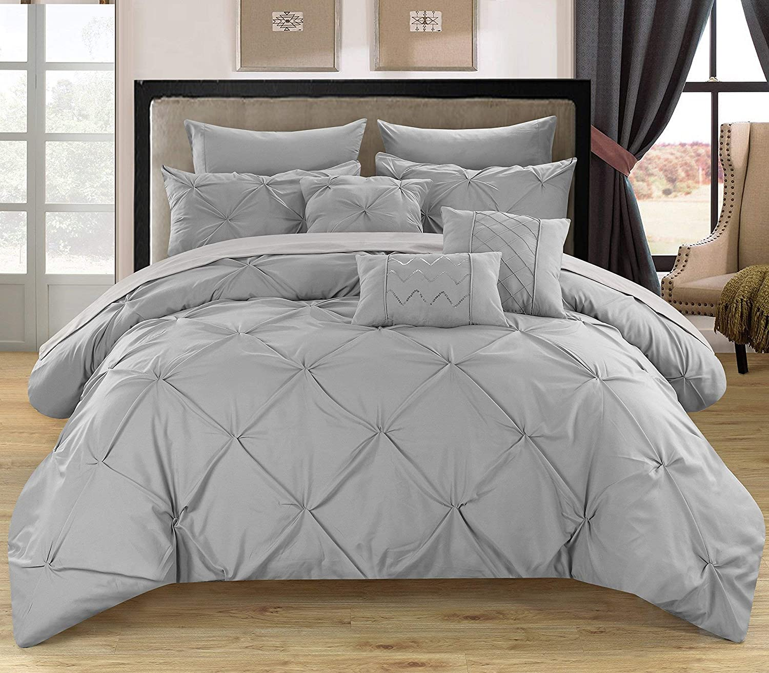 Chic Home 8 Piece Hannah Pinch, Ruffled and Pleated Complete Twin Bed in a Bag Comforter Silver Sheets Set and Deocrative Pillows Included
