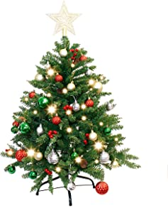 Joiedomi 3.6FT Christmas Tree Decorated with 150 Warm Lights and Ornaments, Artificial Christmas Tree Decorations for Outdoor/Indoor Decor