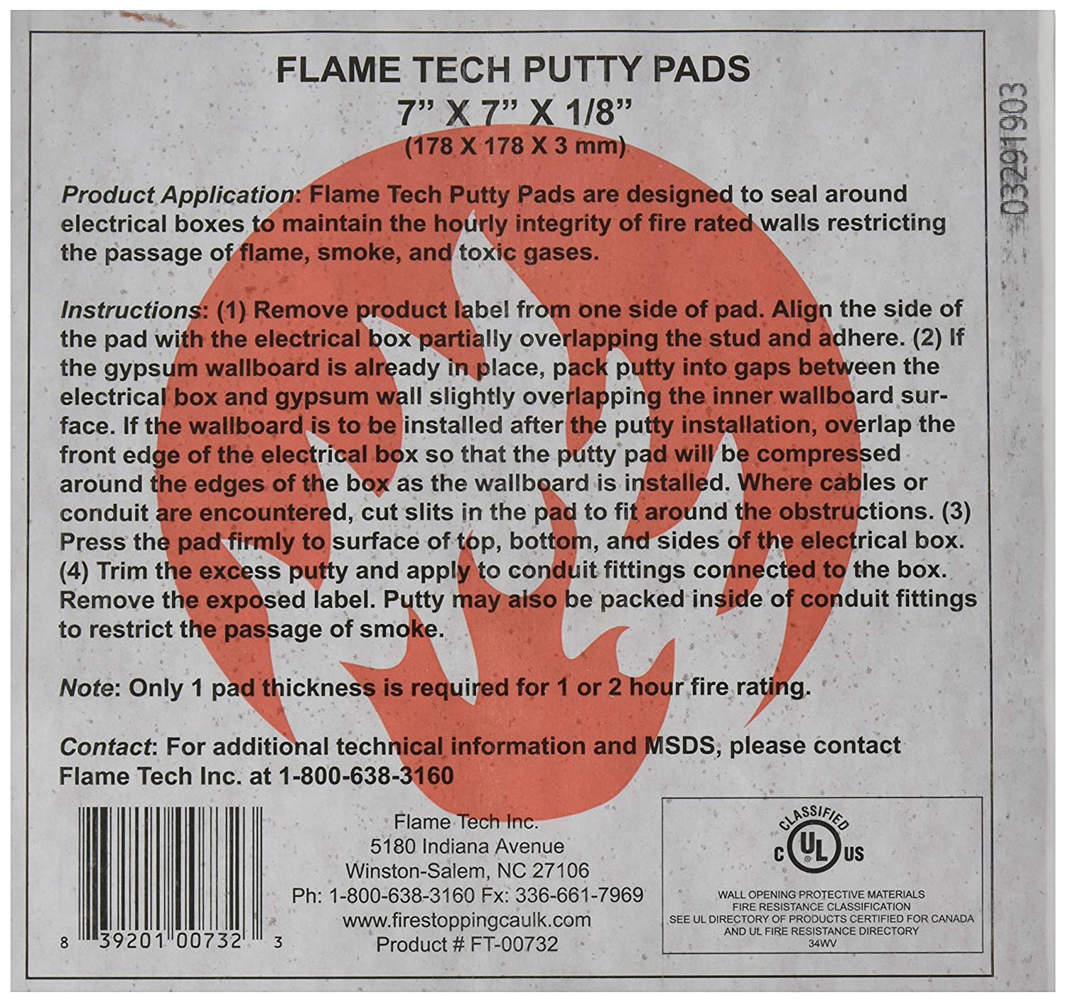 "Sound and Fire Rated Acoustical Putty Pads (7"" x 7"" x 1/8) - Box of 10"