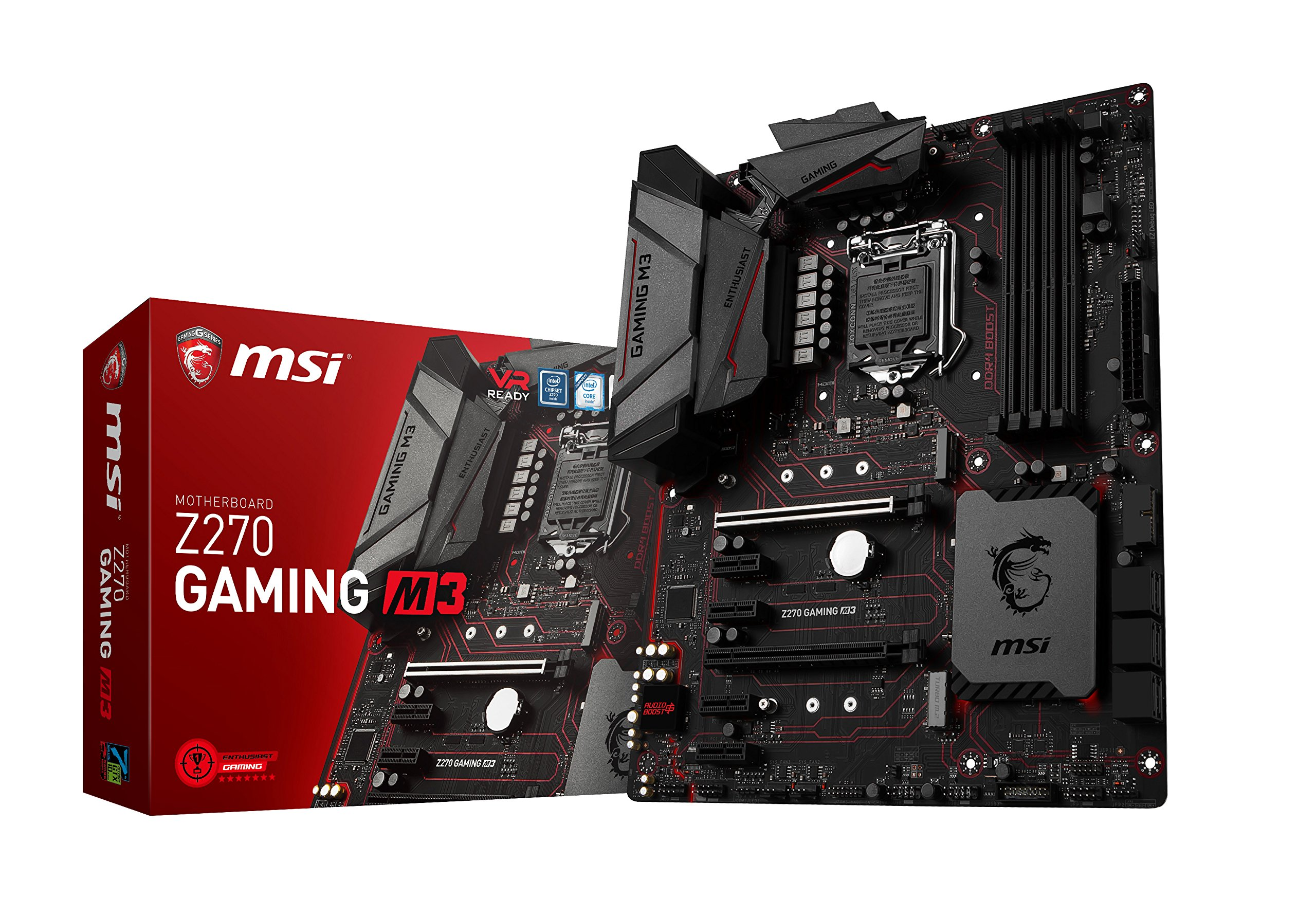MSI Enthusiastic Gaming Intel Z270 DDR4 VR Ready HDMI USB 3 ATX Motherboard (Z270 GAMING M3) by MSI