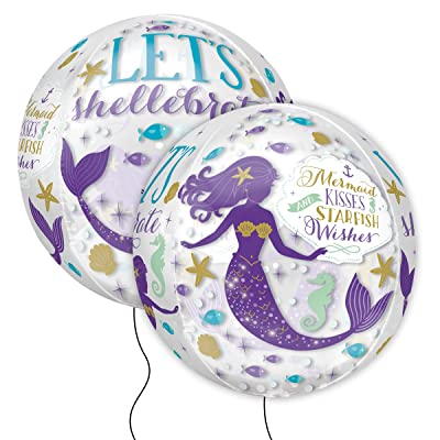 Mayflower Distributing Amscan 3786501 Mermaid Wishes Orbz Foil Balloon: Toys & Games