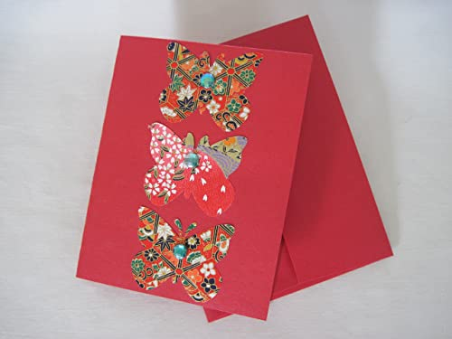 Set of 4 w envelopes vintage style cards floral /& Christmas cards custom Designed Greeting Cards Handmade 3D greeting cards butterflies