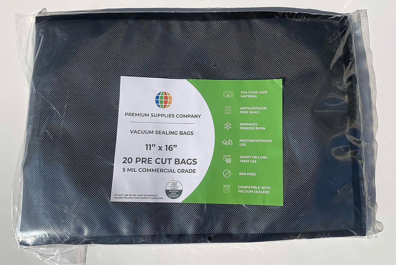 "Premium Supplies Company - 11"" x 16"" Vacuum Sealer Bags Pre Cut Clear & Black 5 mil Commercial Grade - 20 Pack"