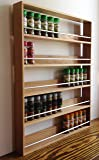SilverAppleWood Wooden Spice Rack, Up To 60 Jar Capacity, 5 Tier, Wall Mountable, Solid Oak