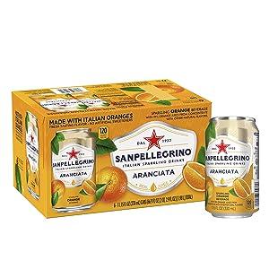 Sanpellegrino Orange Italian Sparkling Drinks, 11.15 fl oz. Cans (6 Count)