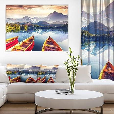 Amazon Com Boats Heading To Lake Landscape Art Print Canvas Posters Prints