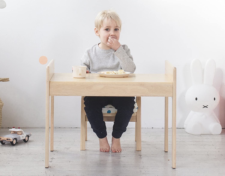 Mitwachsende Kindersitzgruppe, Kindertisch + Stuhl, Motiv: Auto, 100% Massivholz MesaSilla