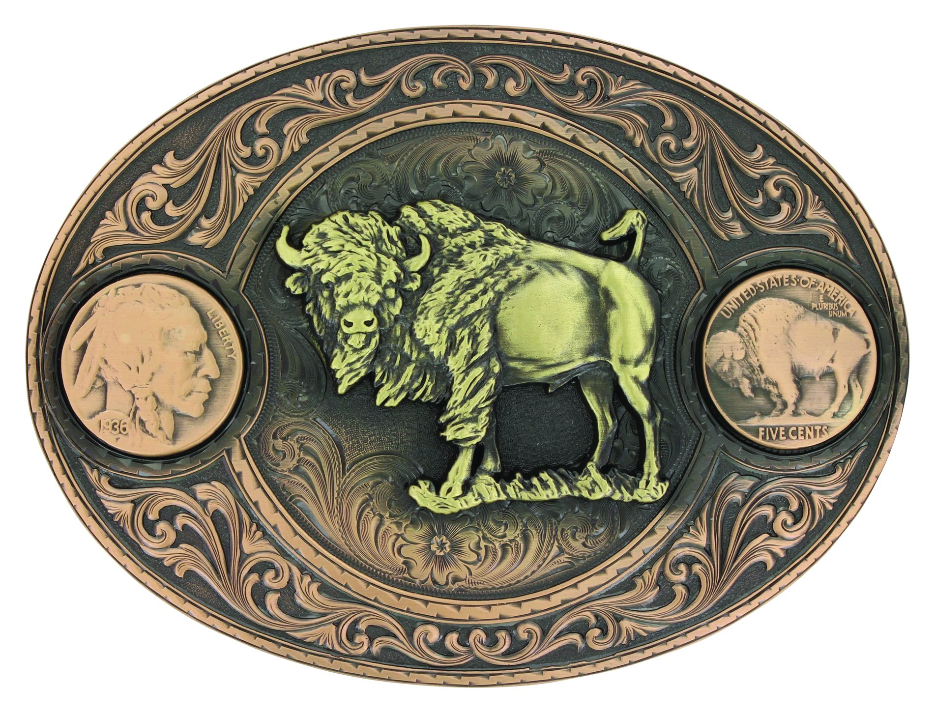 Buffalo Indian Head Nickel Miner's Belt Buckle with Buffalo (4050BLB-941L)