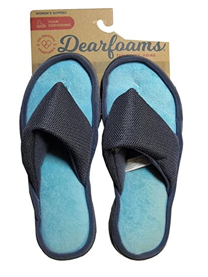 6caed86749a6 Image Unavailable. Image not available for. Color: Dearfoams Womens Micro  Terry Mesh Plush Thong Slipper ...